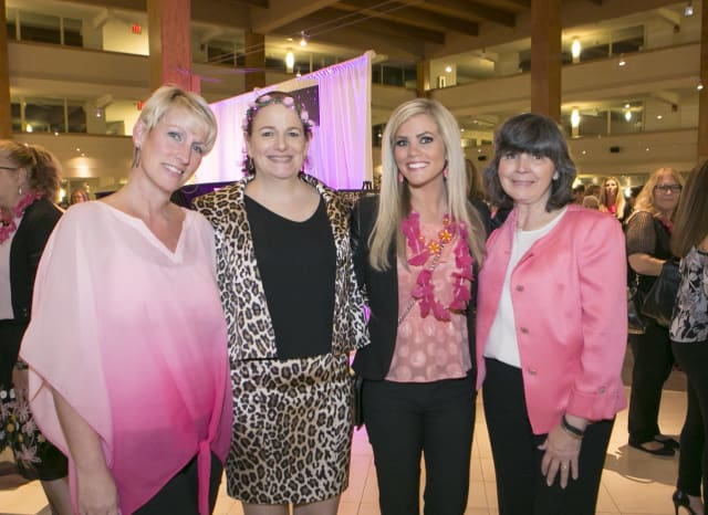 (L to R): Breast cancer survivor Stephanie Wander, Dr. Karen Karsif, medical director of The Center for Breast Health at Good Samaritan Hospital, News 12 reporter Rachel Spotts and Dr. Mary Leahy, CEO of Bon Secours Charity Health System.
