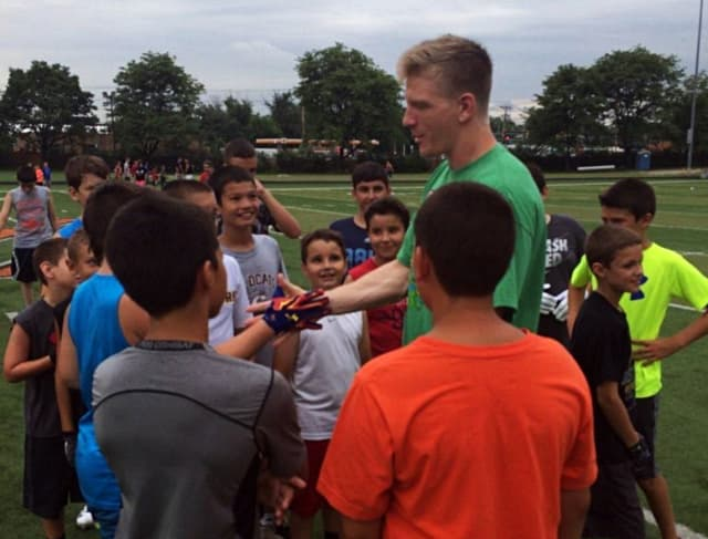 Quarterback Matt Simms of the Atlanta Falcons is one of the camp's special guests this year.