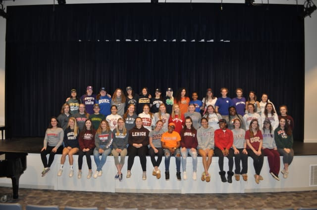The graduating Class of 2016 at School of the Holy Child wear their college gear to school, officially announcing their college choices. Holy Child in Rye came in at No. 5 on Niche.com's list of the 100 best Catholic high schools in New York state.