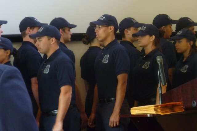 Four students from Sleepy Hollow High School and one student from Irvington High School graduated from the Westchester Youth Police Academy on Thursday.