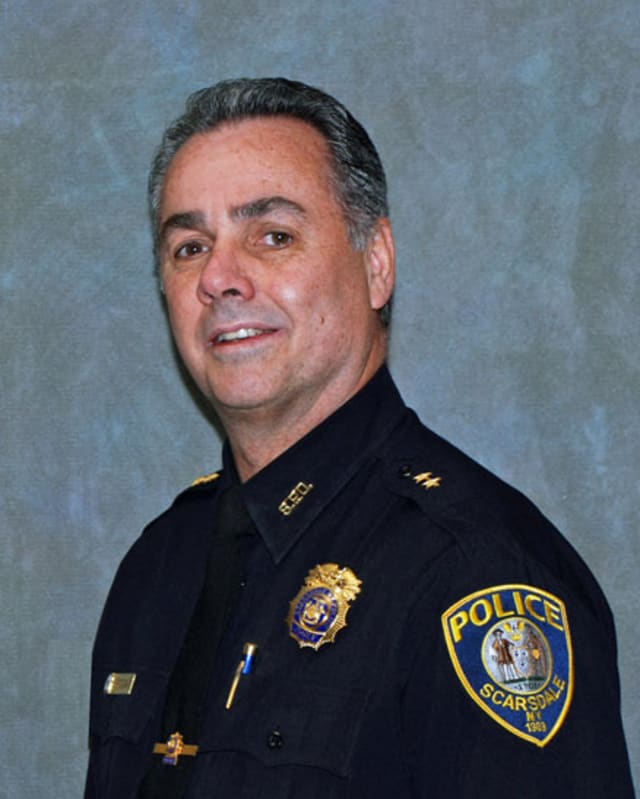 Scarsdale Police Chief John Brogan addressed residents at the Board of Trustees meeting