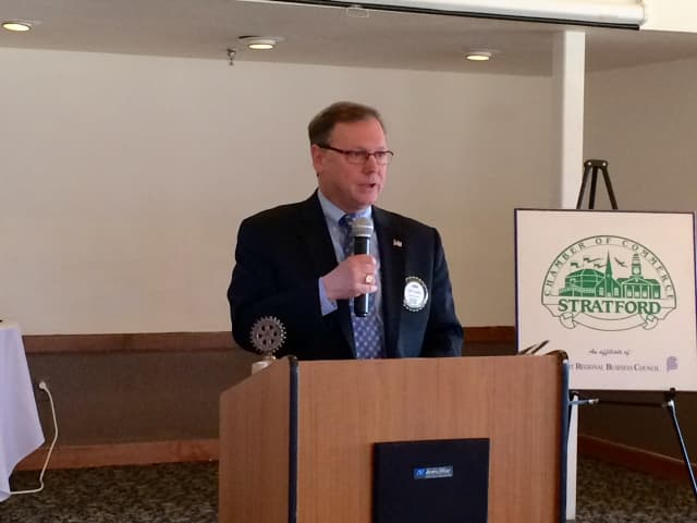 Mayor John Harkins delivers his 2016 State of the Town speech at Oronoque Country Club.