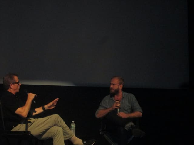 """Ben Foster (r) discusses his new film """"Hell or High Water"""" with Marshall Fine at The Picture House."""